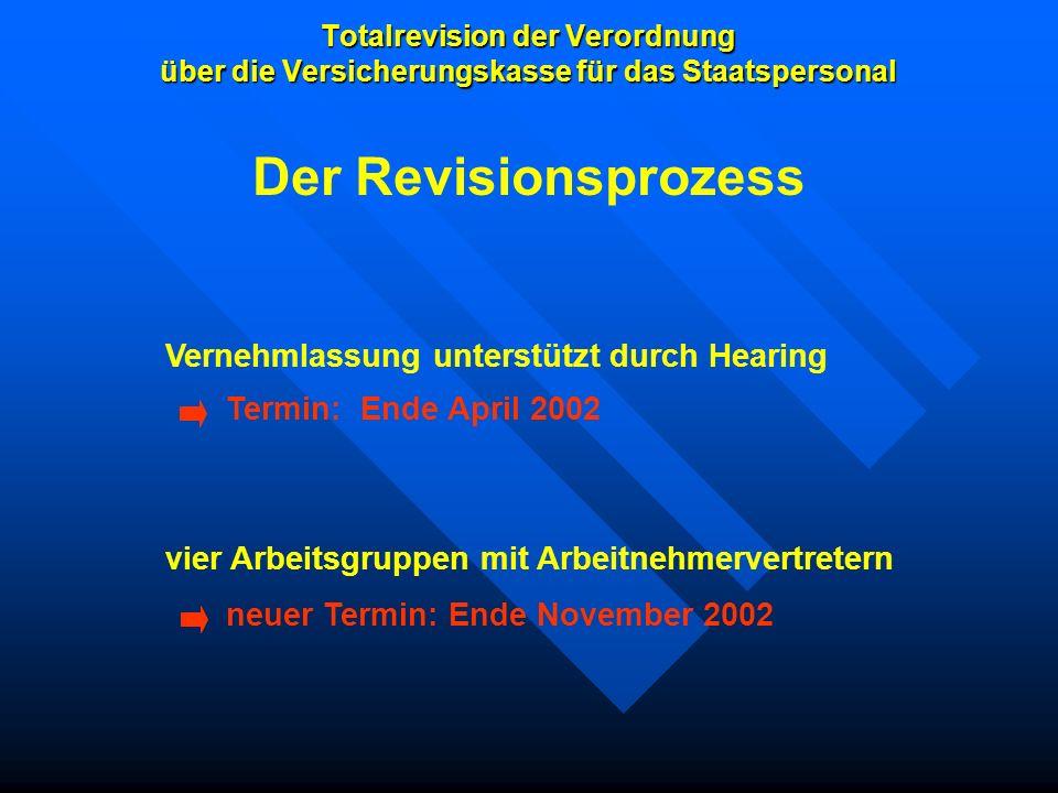 Totalrevision der Verordnung über die Versicherungskasse für das Staatspersonal Vernehmlassung unterstützt durch Hearing vier Arbeitsgruppen mit Arbei