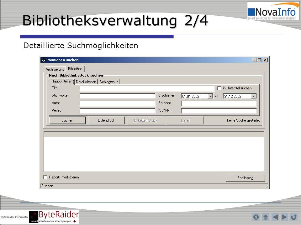 Bibliotheksverwaltung 2/4 Detaillierte Suchmöglichkeiten