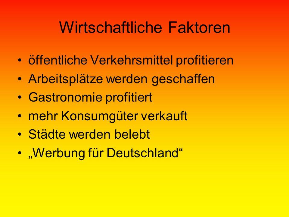 Wirtschaftliche Faktoren öffentliche Verkehrsmittel profitieren Arbeitsplätze werden geschaffen Gastronomie profitiert mehr Konsumgüter verkauft Städte werden belebt Werbung für Deutschland