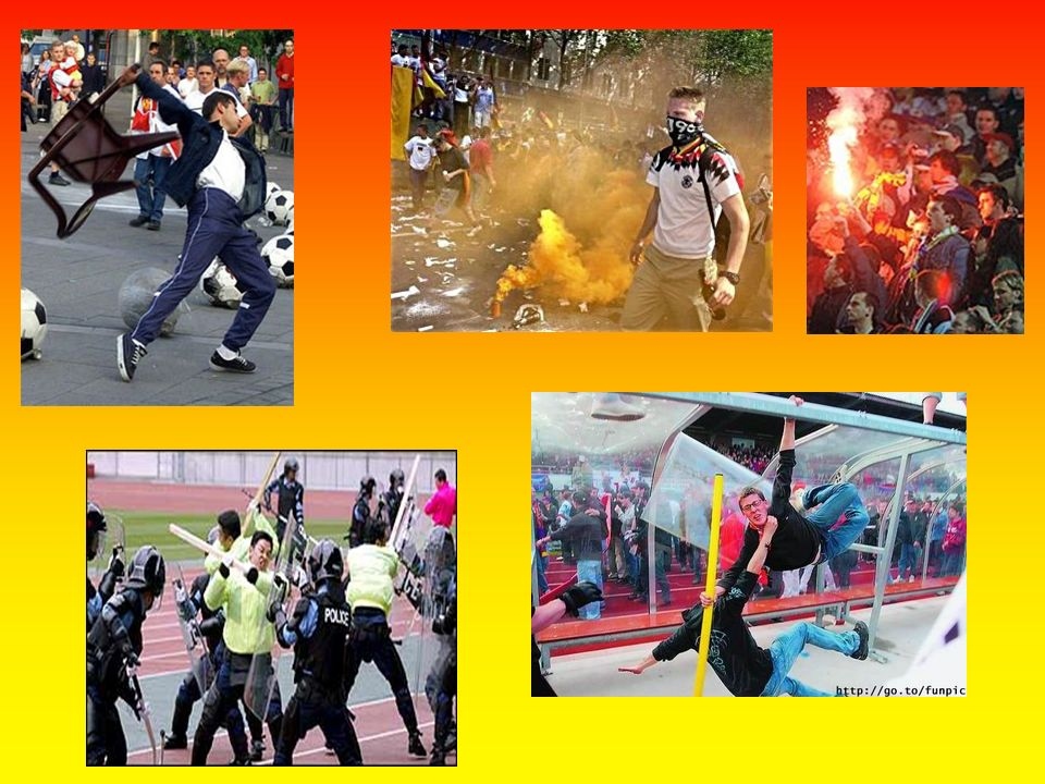 Hooligans =benannt nach dem Iren Patrik Hooligan (Randalierer und Anführer einer kriminellen Jugendbande) missbrauchen die Fußballveranstaltungen Hool