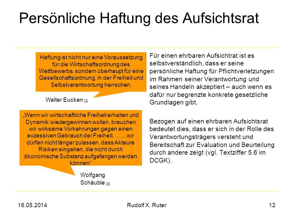 16.05.2014Rudolf X. Ruter12 Persönliche Haftung des Aufsichtsrat Für einen ehrbaren Aufsichtrat ist es selbstverständlich, dass er seine persönliche H