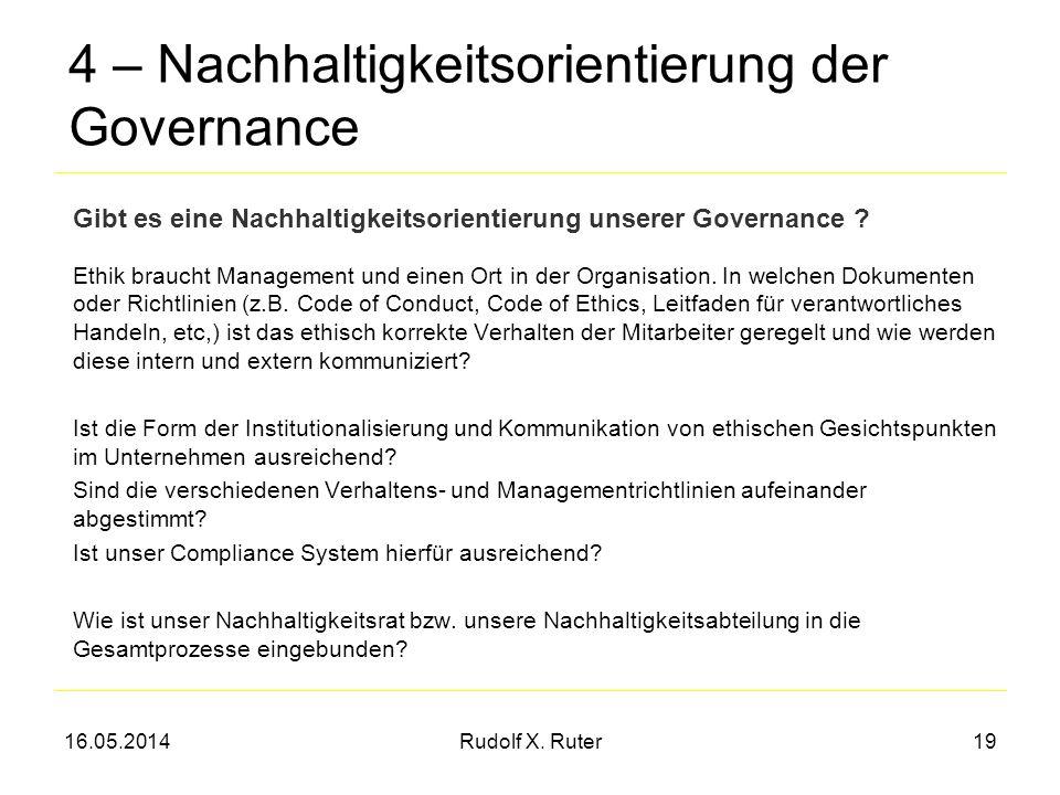 16.05.2014Rudolf X. Ruter19 4 – Nachhaltigkeitsorientierung der Governance Ethik braucht Management und einen Ort in der Organisation. In welchen Doku