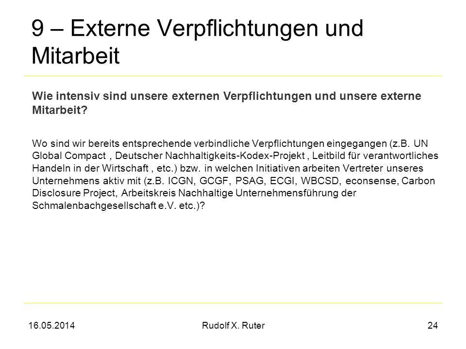 16.05.2014Rudolf X. Ruter24 9 – Externe Verpflichtungen und Mitarbeit Wo sind wir bereits entsprechende verbindliche Verpflichtungen eingegangen (z.B.