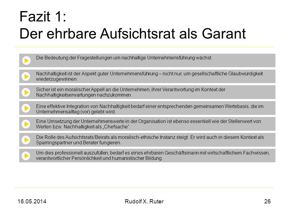 16.05.2014Rudolf X. Ruter26 Fazit 1: Der ehrbare Aufsichtsrat als Garant Die Bedeutung der Fragestellungen um nachhaltige Unternehmensführung wächst.