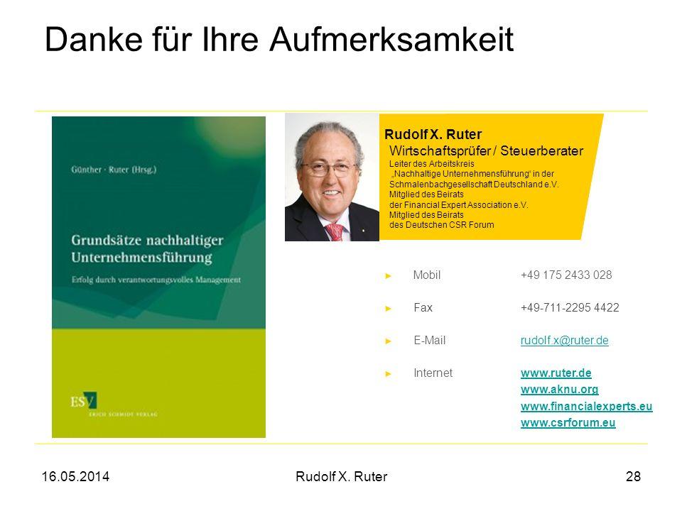 16.05.2014Rudolf X. Ruter28 Danke für Ihre Aufmerksamkeit Rudolf X. Ruter Wirtschaftsprüfer / Steuerberater Leiter des Arbeitskreis Nachhaltige Untern