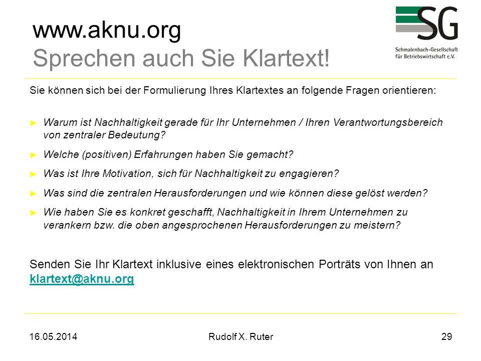 16.05.2014Rudolf X. Ruter29 www.aknu.org Sprechen auch Sie Klartext! Sie können sich bei der Formulierung Ihres Klartextes an folgende Fragen orientie