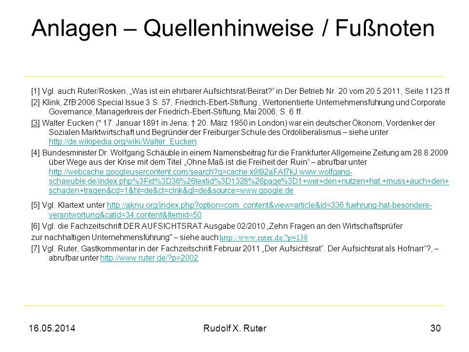 16.05.2014Rudolf X. Ruter30 Anlagen – Quellenhinweise / Fußnoten [1] Vgl. auch Ruter/Rosken, Was ist ein ehrbarer Aufsichtsrat/Beirat? in Der Betrieb