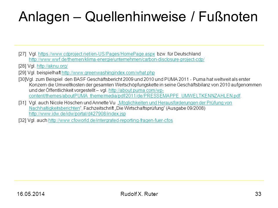 16.05.2014Rudolf X. Ruter33 [27] Vgl. https://www.cdproject.net/en-US/Pages/HomePage.aspx bzw. für Deutschland http://www.wwf.de/themen/klima-energie/