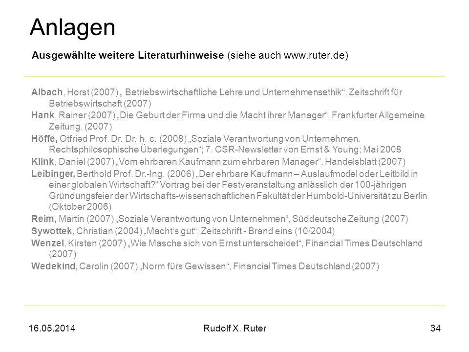 16.05.2014Rudolf X. Ruter34 Ausgewählte weitere Literaturhinweise (siehe auch www.ruter.de) Albach, Horst (2007) Betriebswirtschaftliche Lehre und Unt
