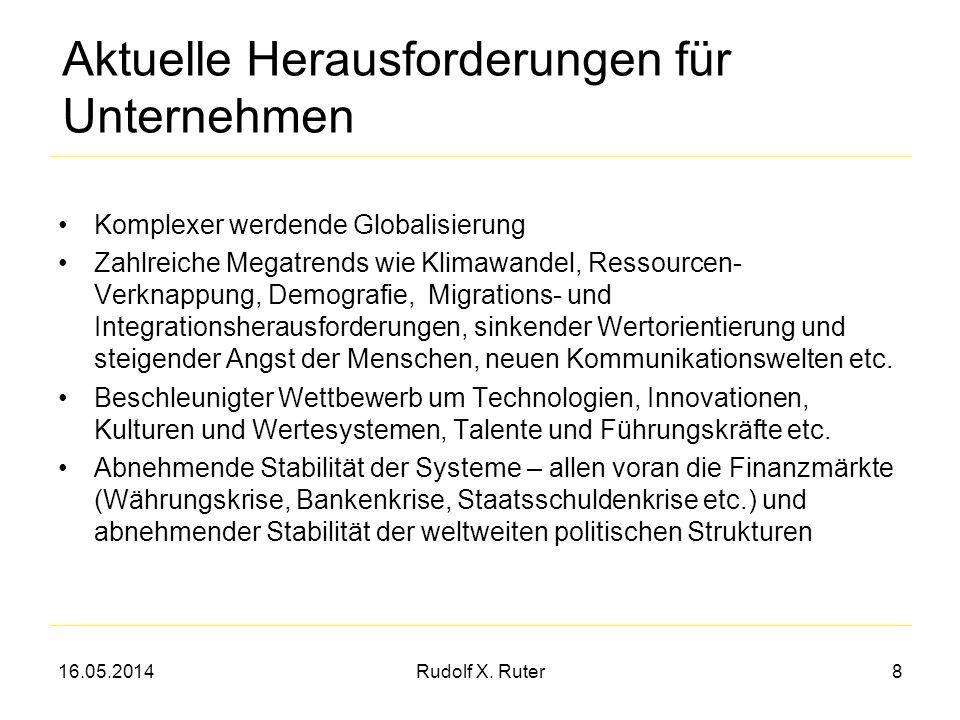 16.05.2014Rudolf X. Ruter8 Aktuelle Herausforderungen für Unternehmen Komplexer werdende Globalisierung Zahlreiche Megatrends wie Klimawandel, Ressour