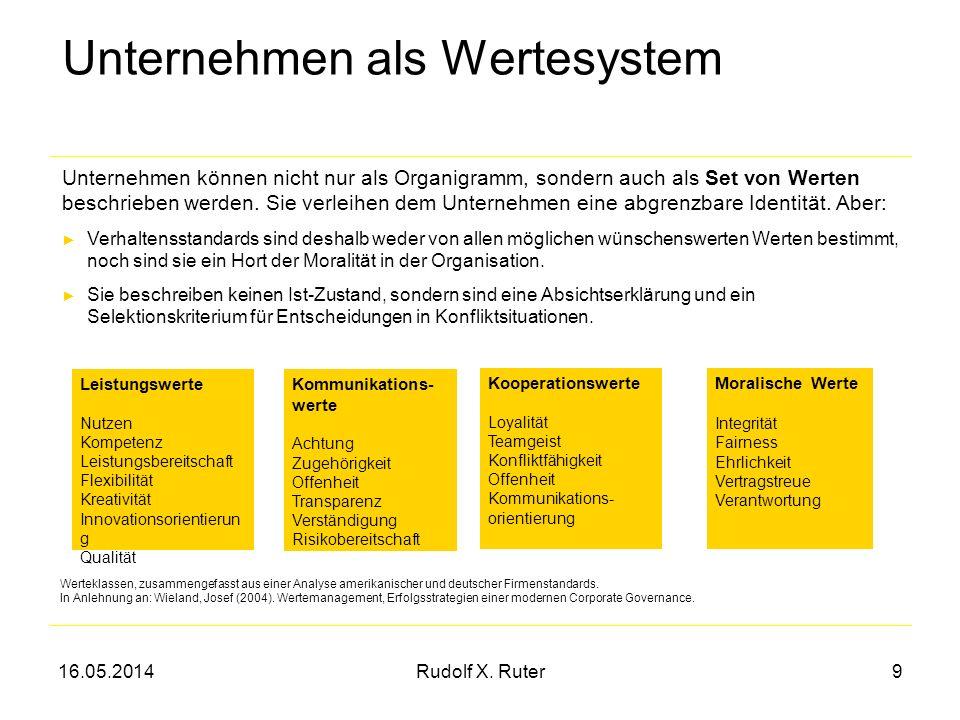 16.05.2014Rudolf X. Ruter9 Unternehmen als Wertesystem Unternehmen können nicht nur als Organigramm, sondern auch als Set von Werten beschrieben werde