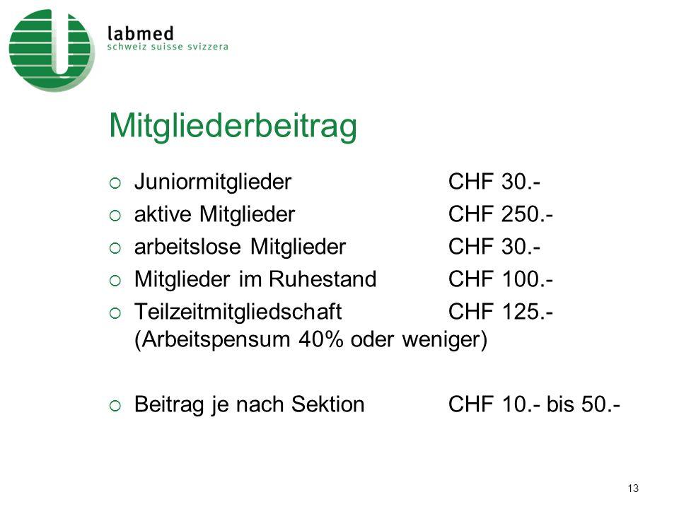 13 Mitgliederbeitrag JuniormitgliederCHF 30.- aktive MitgliederCHF 250.- arbeitslose MitgliederCHF 30.- Mitglieder im RuhestandCHF 100.- Teilzeitmitgl