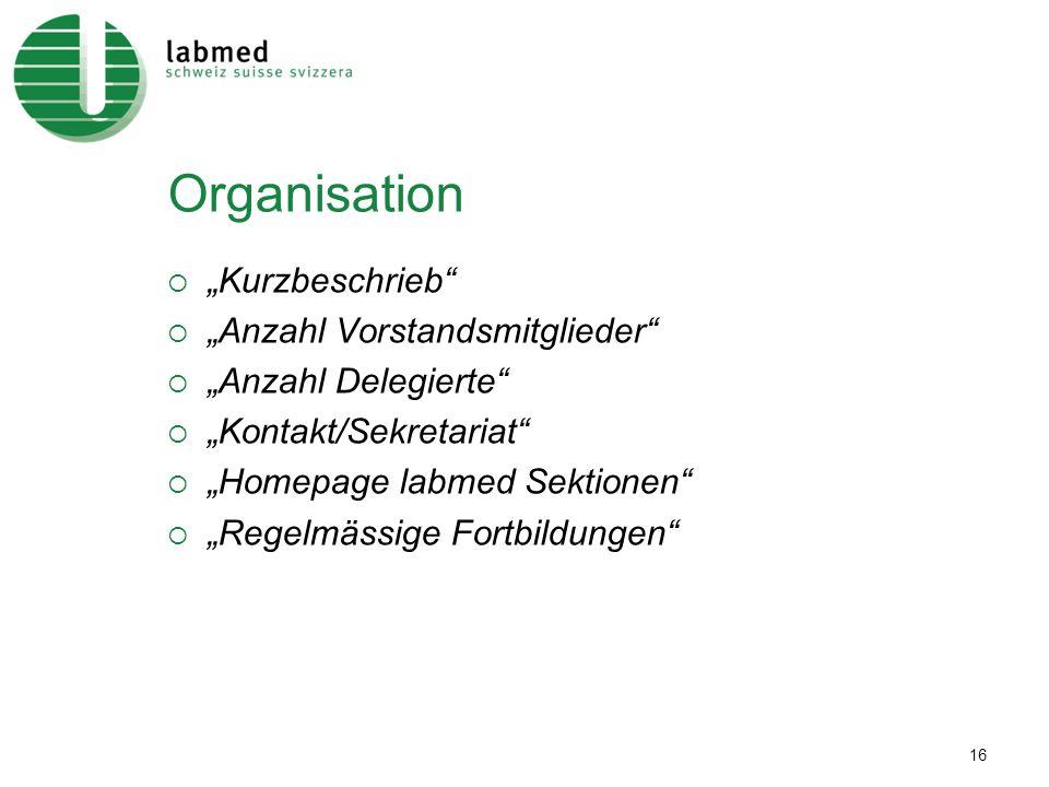16 Organisation Kurzbeschrieb Anzahl Vorstandsmitglieder Anzahl Delegierte Kontakt/Sekretariat Homepage labmed Sektionen Regelmässige Fortbildungen