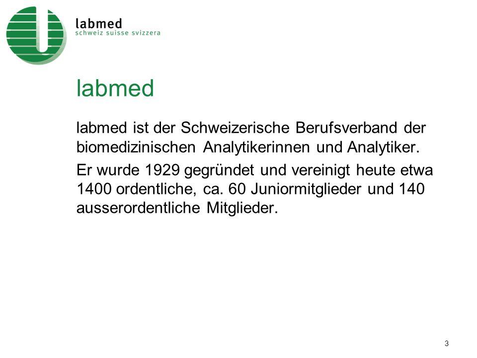 3 labmed labmed ist der Schweizerische Berufsverband der biomedizinischen Analytikerinnen und Analytiker. Er wurde 1929 gegründet und vereinigt heute