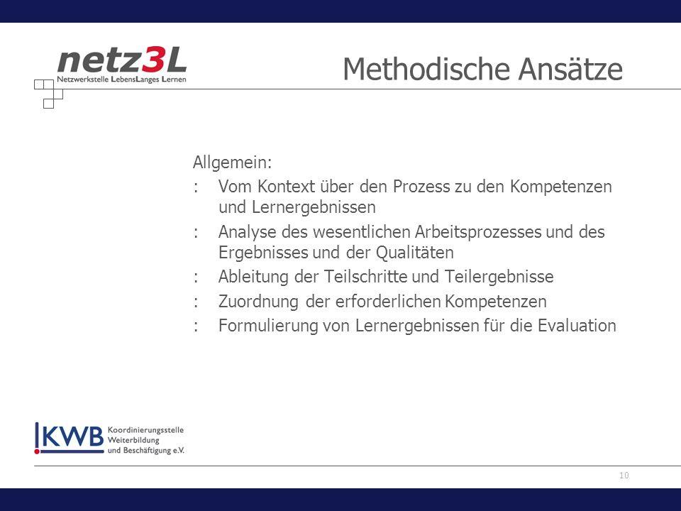 10 Methodische Ansätze Allgemein: :Vom Kontext über den Prozess zu den Kompetenzen und Lernergebnissen :Analyse des wesentlichen Arbeitsprozesses und