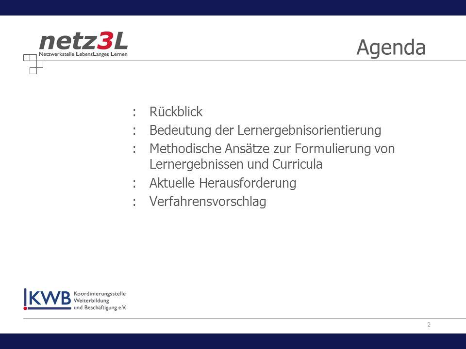 2 Agenda :Rückblick :Bedeutung der Lernergebnisorientierung :Methodische Ansätze zur Formulierung von Lernergebnissen und Curricula :Aktuelle Herausfo