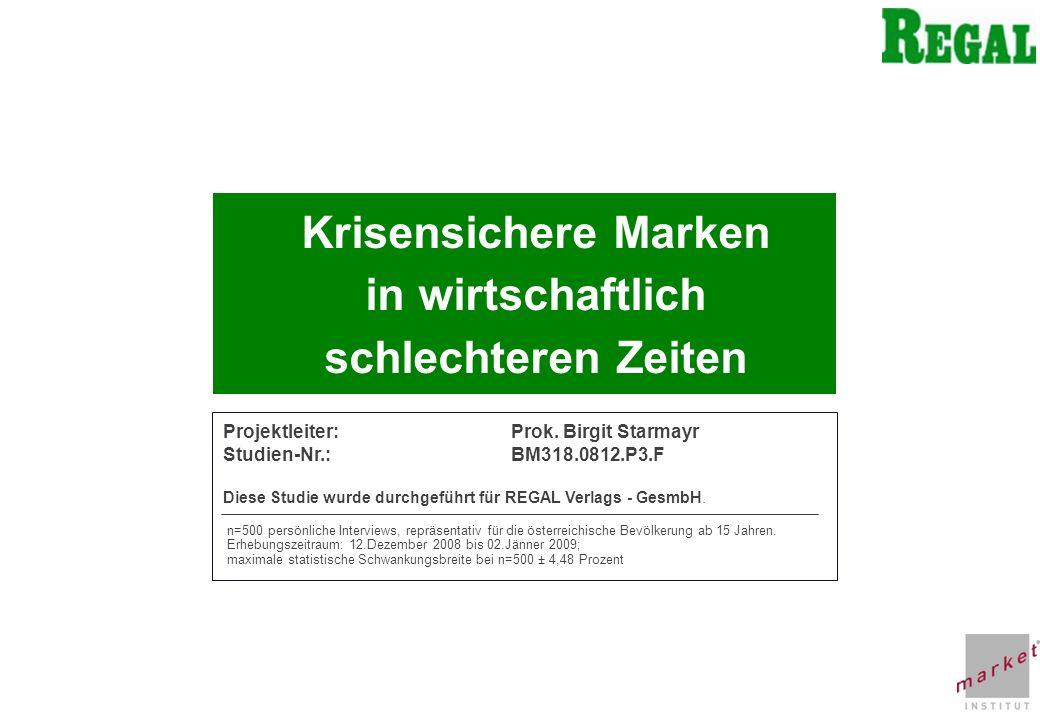 CHART 2 Krisensichere Marken in wirtschaftlich schlechteren Zeiten Projektleiter:Prok. Birgit Starmayr Studien-Nr.:BM318.0812.P3.F Diese Studie wurde