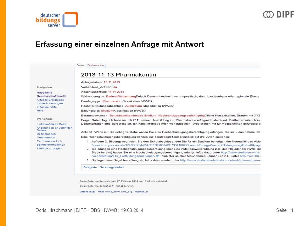 Seite Erfassung einer einzelnen Anfrage mit Antwort Doris Hirschmann | DIPF - DBS - IWWB | 19.03.201411