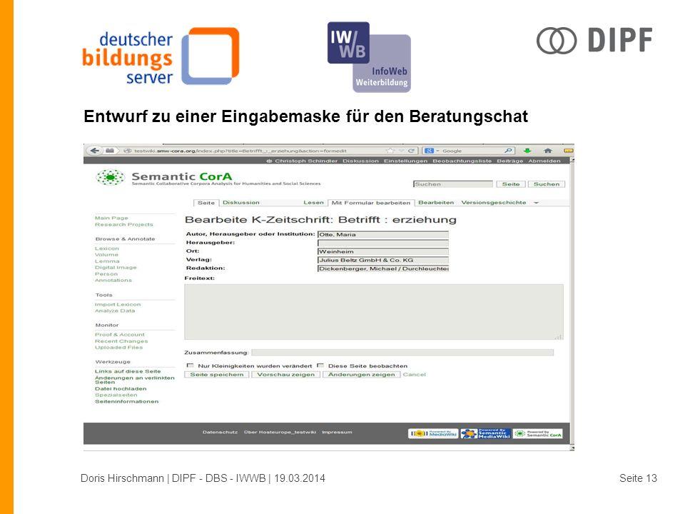 Entwurf zu einer Eingabemaske für den Beratungschat Doris Hirschmann | DIPF - DBS - IWWB | 19.03.2014Seite 13