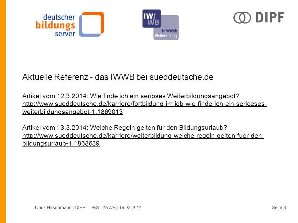 Doris Hirschmann | DIPF - DBS - IWWB | 19.03.2014Seite 4