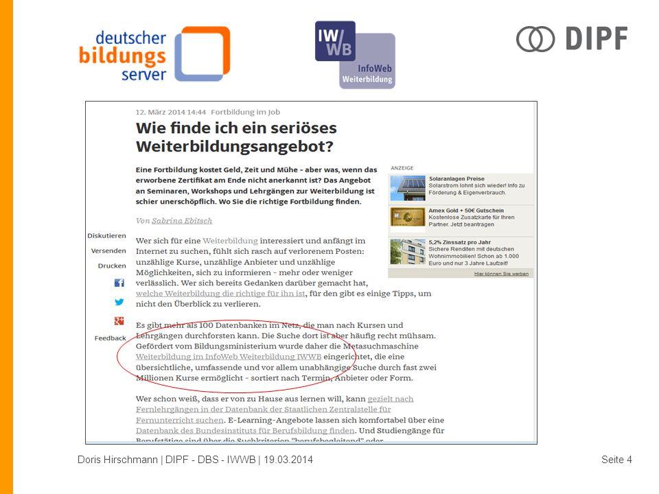 Vielen Dank! Doris Hirschmann | DIPF - DBS - IWWB | 19.03.2014Seite 15
