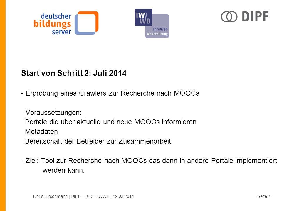 Start von Schritt 2: Juli 2014 - Erprobung eines Crawlers zur Recherche nach MOOCs - Voraussetzungen: Portale die über aktuelle und neue MOOCs informieren Metadaten Bereitschaft der Betreiber zur Zusammenarbeit - Ziel: Tool zur Recherche nach MOOCs das dann in andere Portale implementiert werden kann.