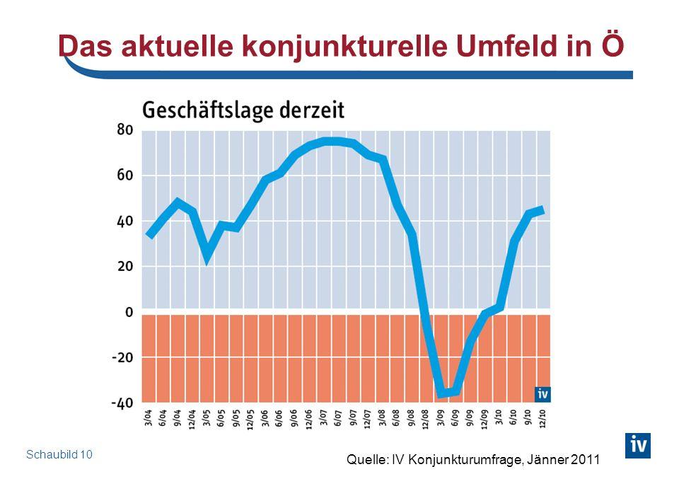 Das aktuelle konjunkturelle Umfeld in Ö Schaubild 10 Quelle: IV Konjunkturumfrage, Jänner 2011