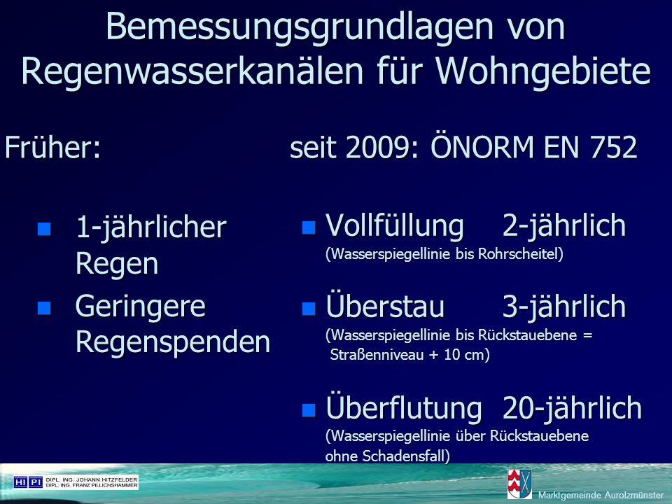 Marktgemeinde Aurolzmünster Bemessungsgrundlagen von Regenwasserkanälen für Wohngebiete n Vollfüllung2-jährlich (Wasserspiegellinie bis Rohrscheitel)