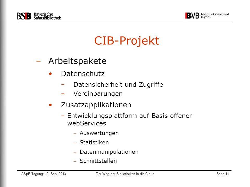 ASpB-Tagung: 12. Sep. 2013Der Weg der Bibliotheken in die CloudSeite 11 CIB-Projekt –Arbeitspakete Datenschutz –Datensicherheit und Zugriffe –Vereinba