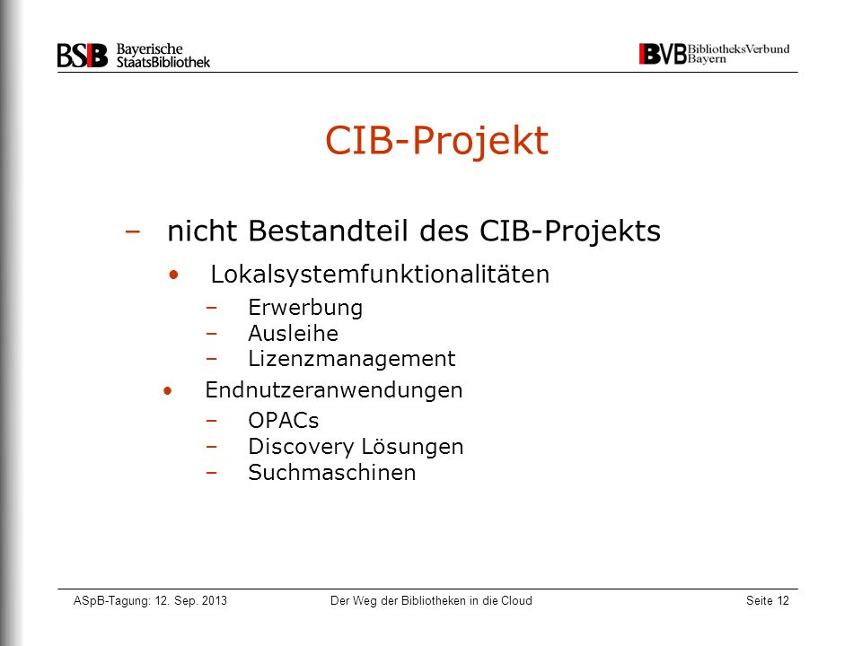 ASpB-Tagung: 12. Sep. 2013Der Weg der Bibliotheken in die CloudSeite 12 CIB-Projekt –nicht Bestandteil des CIB-Projekts Lokalsystemfunktionalitäten –E