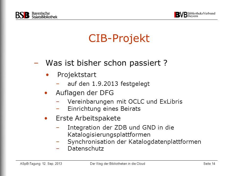 ASpB-Tagung: 12. Sep. 2013Der Weg der Bibliotheken in die CloudSeite 14 CIB-Projekt –Was ist bisher schon passiert ? Projektstart –auf den 1.9.2013 fe