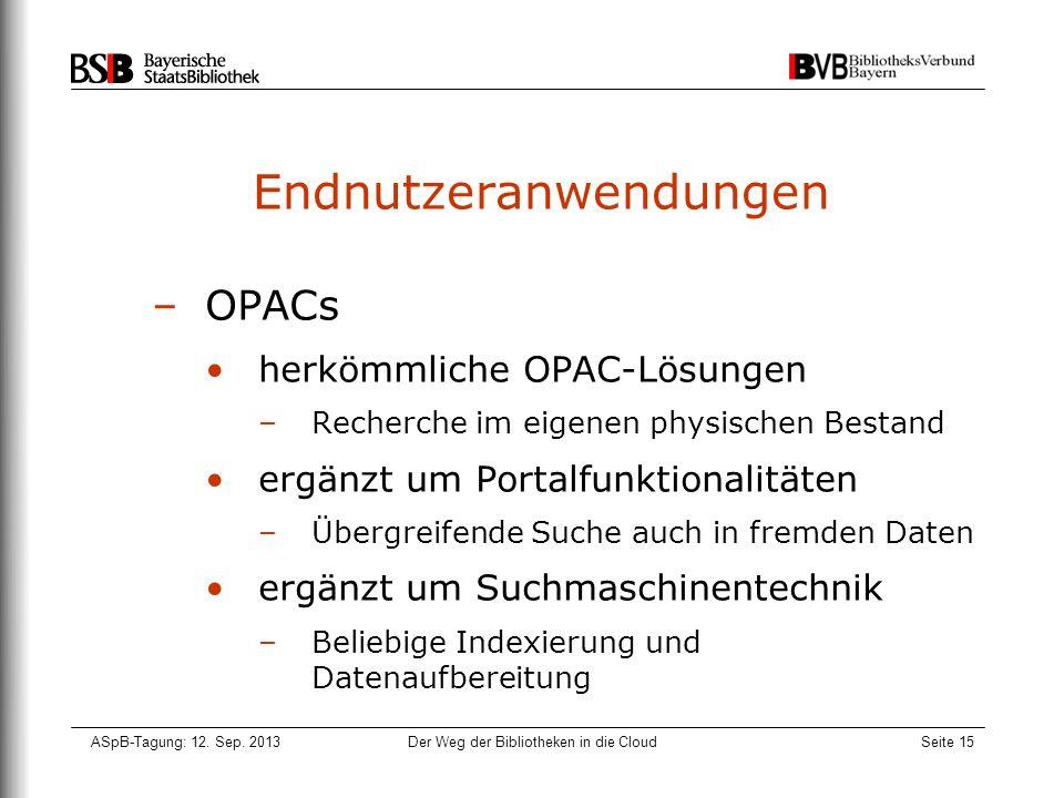 ASpB-Tagung: 12. Sep. 2013Der Weg der Bibliotheken in die CloudSeite 15 Endnutzeranwendungen –OPACs herkömmliche OPAC-Lösungen –Recherche im eigenen p