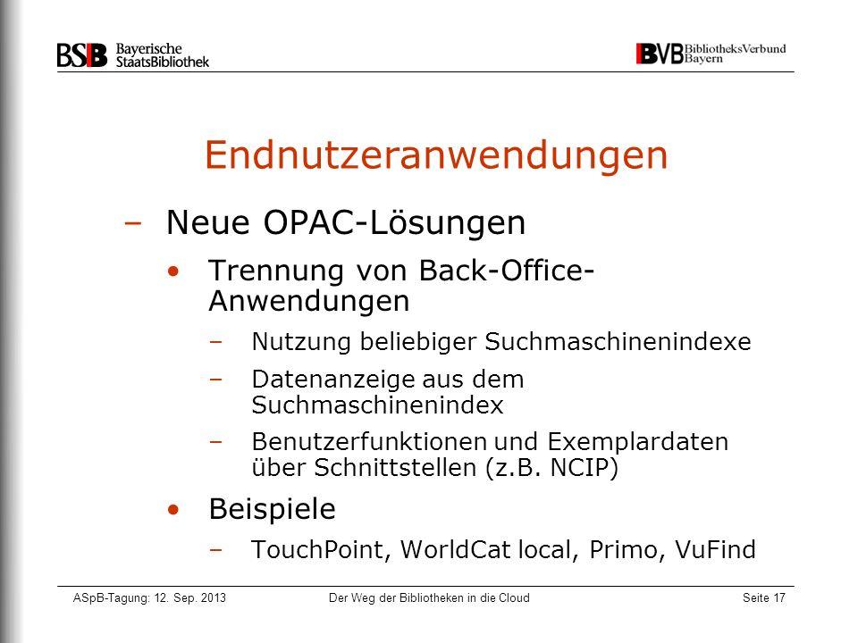 ASpB-Tagung: 12. Sep. 2013Der Weg der Bibliotheken in die CloudSeite 17 Endnutzeranwendungen –Neue OPAC-Lösungen Trennung von Back-Office- Anwendungen