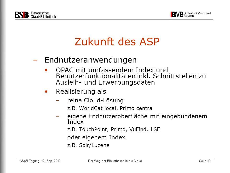 ASpB-Tagung: 12. Sep. 2013Der Weg der Bibliotheken in die CloudSeite 19 Zukunft des ASP –Endnutzeranwendungen OPAC mit umfassendem Index und Benutzerf