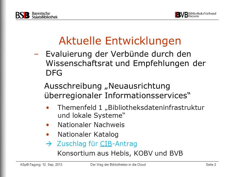 ASpB-Tagung: 12. Sep. 2013Der Weg der Bibliotheken in die CloudSeite 2 Aktuelle Entwicklungen –Evaluierung der Verbünde durch den Wissenschaftsrat und