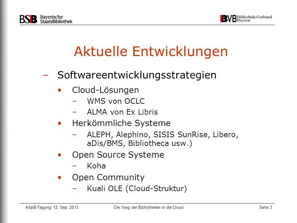 ASpB-Tagung: 12. Sep. 2013Der Weg der Bibliotheken in die CloudSeite 3 Aktuelle Entwicklungen –Softwareentwicklungsstrategien Cloud-Lösungen –WMS von