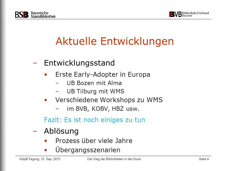 ASpB-Tagung: 12. Sep. 2013Der Weg der Bibliotheken in die CloudSeite 4 Aktuelle Entwicklungen –Entwicklungsstand Erste Early-Adopter in Europa –UB Boz