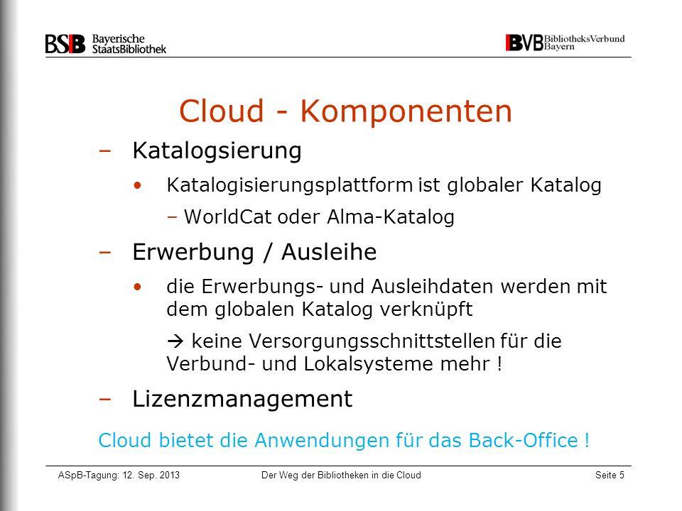 ASpB-Tagung: 12. Sep. 2013Der Weg der Bibliotheken in die CloudSeite 5 Cloud - Komponenten –Katalogsierung Katalogisierungsplattform ist globaler Kata