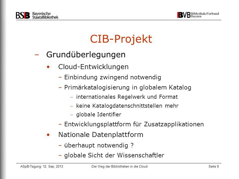 ASpB-Tagung: 12. Sep. 2013Der Weg der Bibliotheken in die CloudSeite 8 CIB-Projekt –Grundüberlegungen Cloud-Entwicklungen –Einbindung zwingend notwend