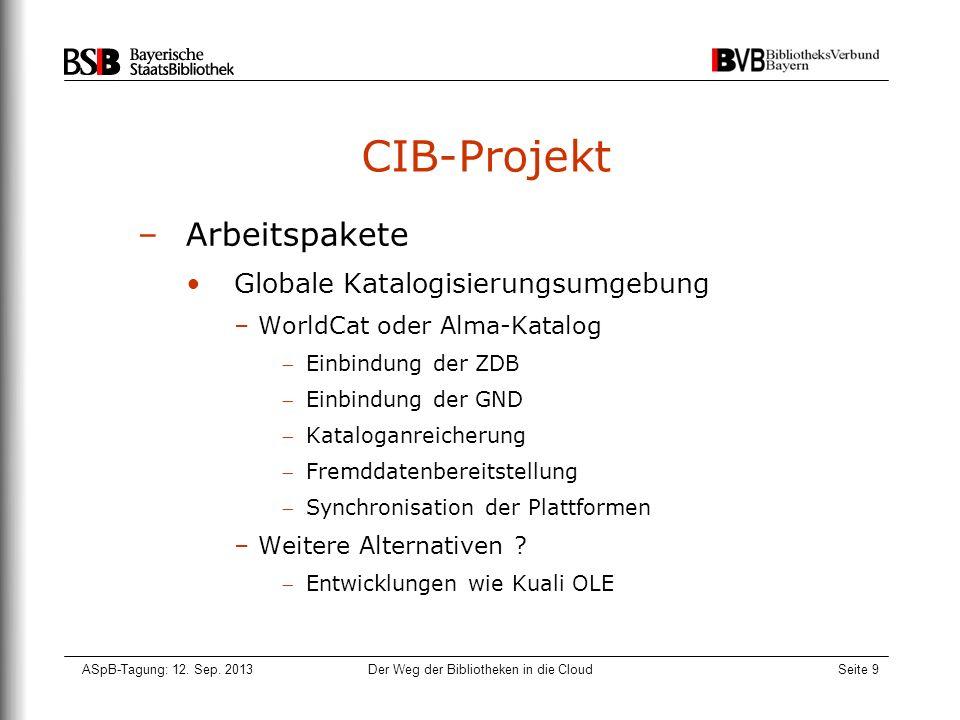 ASpB-Tagung: 12. Sep. 2013Der Weg der Bibliotheken in die CloudSeite 9 CIB-Projekt –Arbeitspakete Globale Katalogisierungsumgebung –WorldCat oder Alma