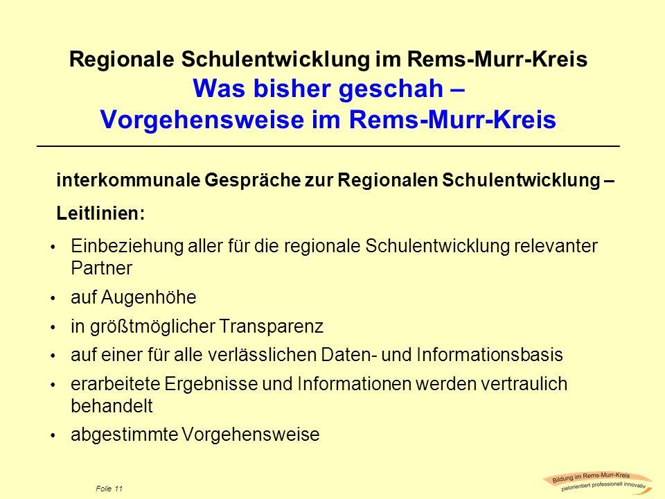 Folie 11 Regionale Schulentwicklung im Rems-Murr-Kreis Was bisher geschah – Vorgehensweise im Rems-Murr-Kreis ________________________________________