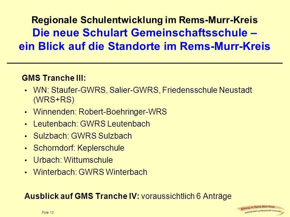 Folie 13 Regionale Schulentwicklung im Rems-Murr-Kreis Die neue Schulart Gemeinschaftsschule – ein Blick auf die Standorte im Rems-Murr-Kreis ________