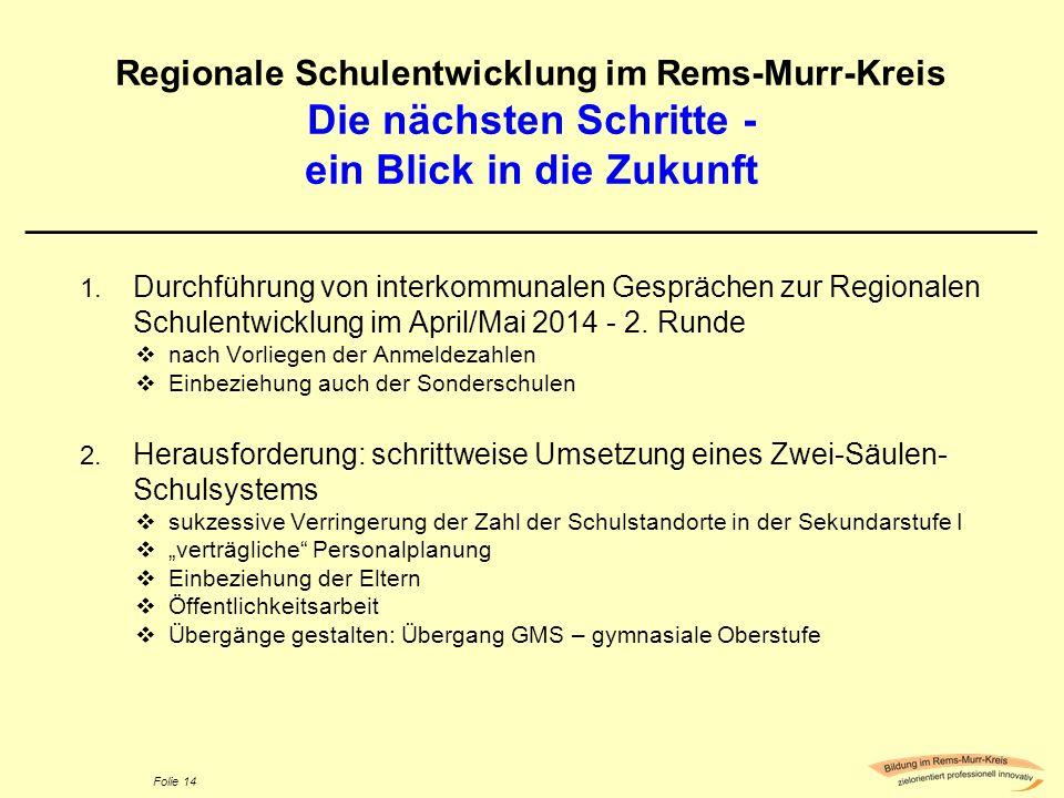 Folie 14 Regionale Schulentwicklung im Rems-Murr-Kreis Die nächsten Schritte - ein Blick in die Zukunft ______________________________________________