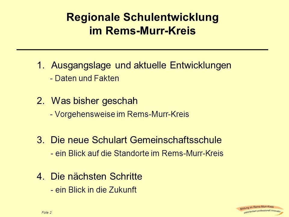 Folie 2 Regionale Schulentwicklung im Rems-Murr-Kreis ________________________________________ 1.Ausgangslage und aktuelle Entwicklungen - Daten und F