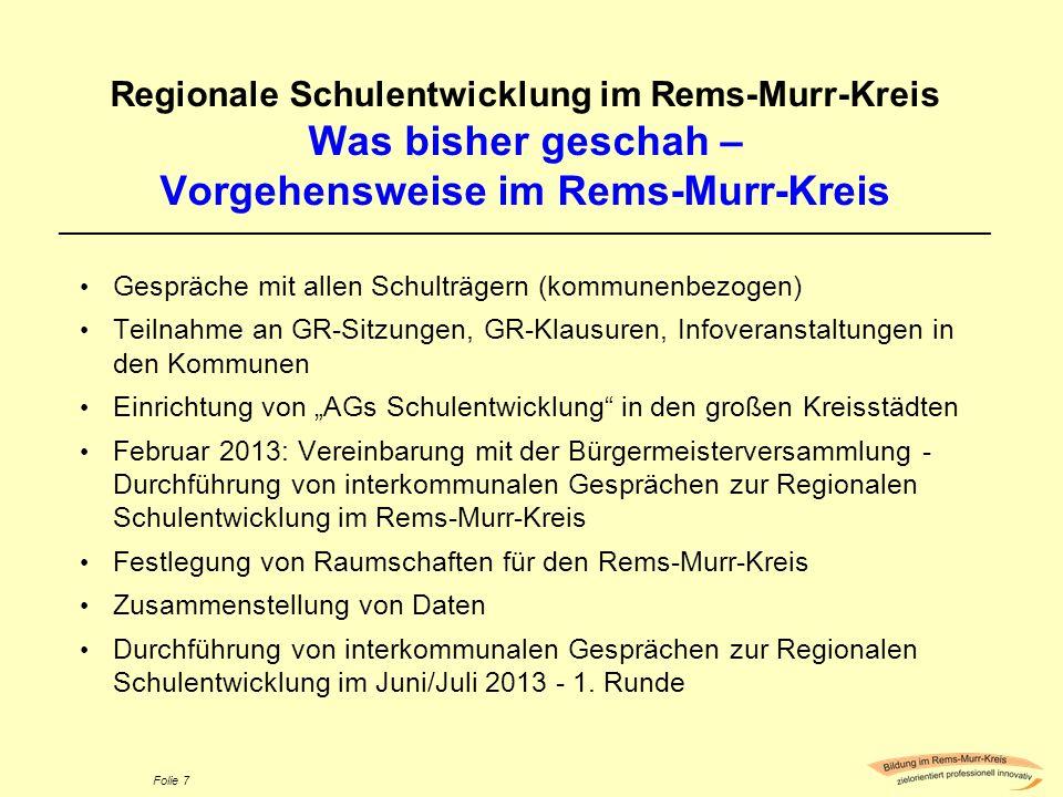 Folie 7 Regionale Schulentwicklung im Rems-Murr-Kreis Was bisher geschah – Vorgehensweise im Rems-Murr-Kreis _________________________________________