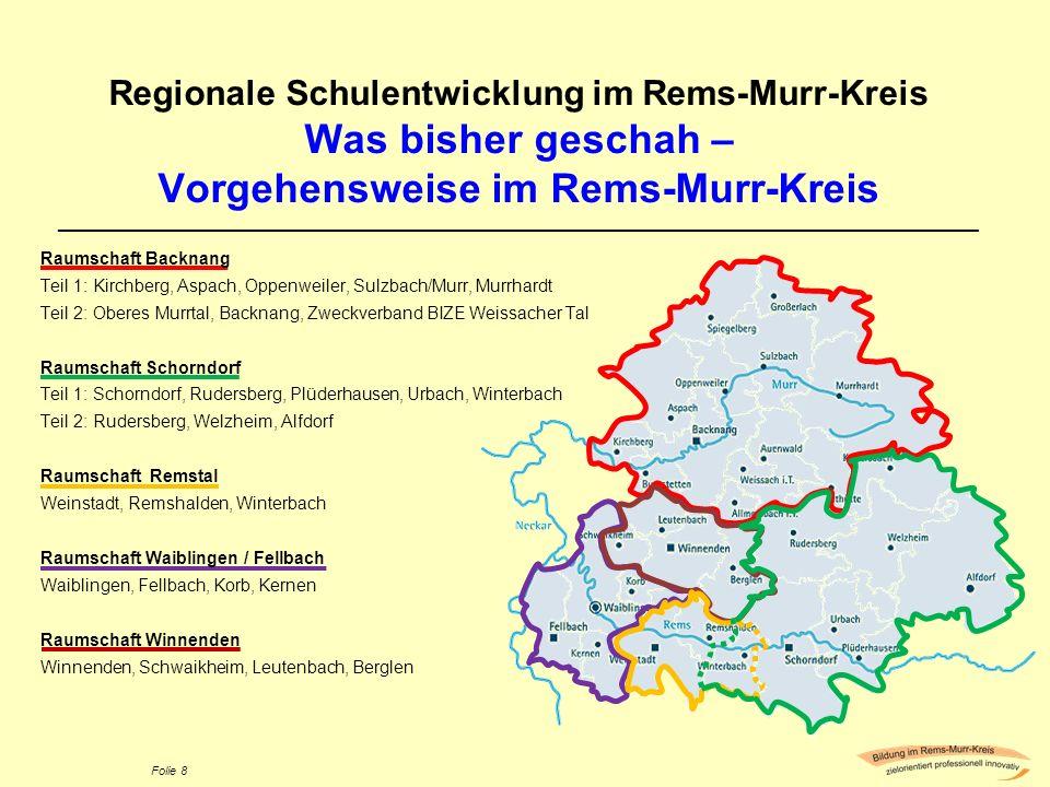 Folie 8 Regionale Schulentwicklung im Rems-Murr-Kreis Was bisher geschah – Vorgehensweise im Rems-Murr-Kreis _________________________________________