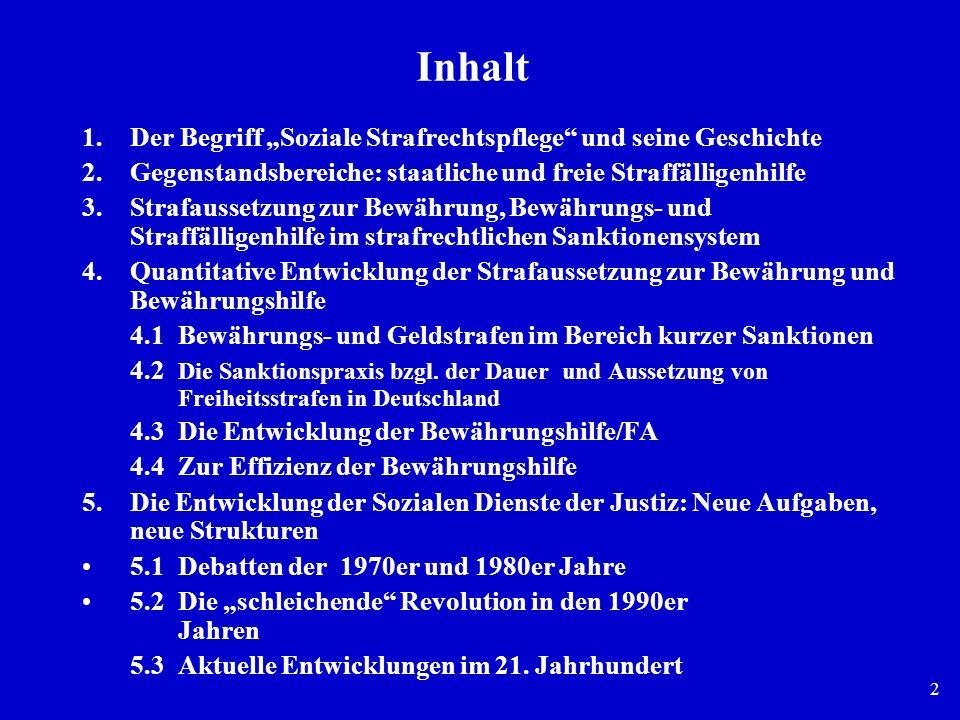 2 Inhalt 1.Der Begriff Soziale Strafrechtspflege und seine Geschichte 2.Gegenstandsbereiche: staatliche und freie Straffälligenhilfe 3.Strafaussetzung