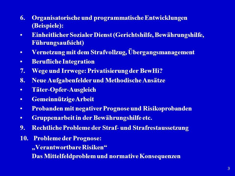 3 6.Organisatorische und programmatische Entwicklungen (Beispiele): Einheitlicher Sozialer Dienst (Gerichtshilfe, Bewährungshilfe, Führungsaufsicht) V