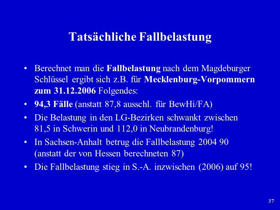 37 Tatsächliche Fallbelastung Berechnet man die Fallbelastung nach dem Magdeburger Schlüssel ergibt sich z.B. für Mecklenburg-Vorpommern zum 31.12.200
