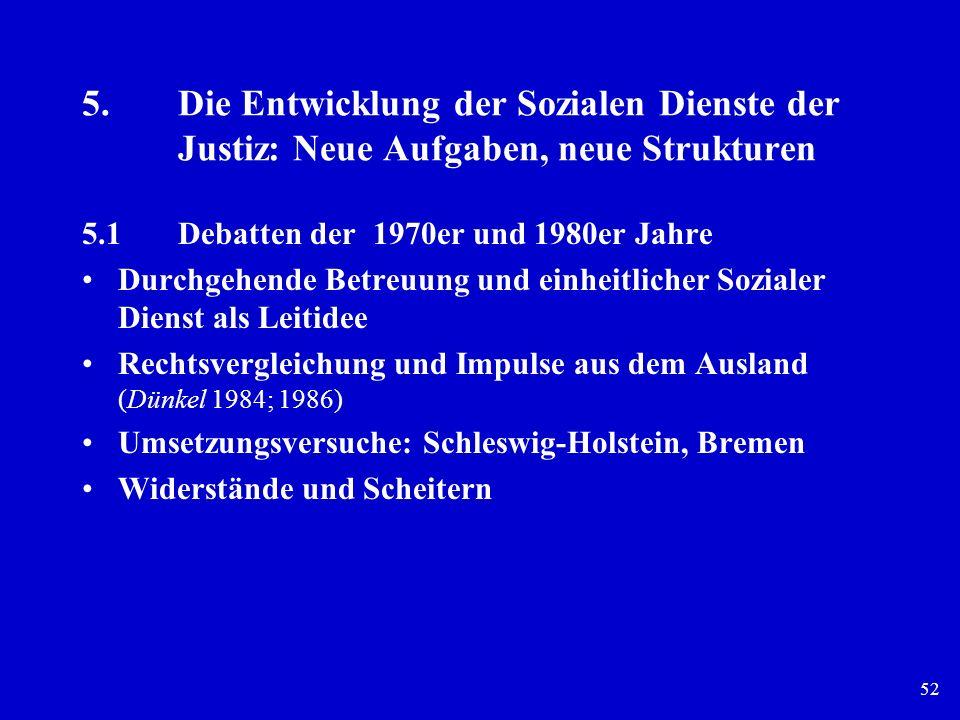 52 5.Die Entwicklung der Sozialen Dienste der Justiz: Neue Aufgaben, neue Strukturen 5.1Debatten der 1970er und 1980er Jahre Durchgehende Betreuung un